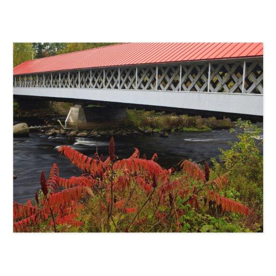 el atravesar del puente cubierto de Ashuelot de Postales