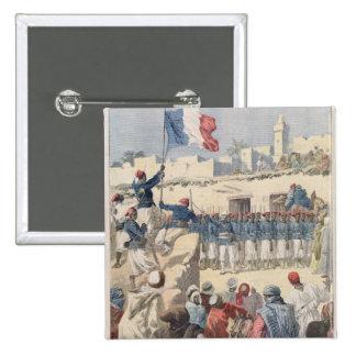 El aumento de la bandera francesa en Tombuctú Pin Cuadrada 5 Cm