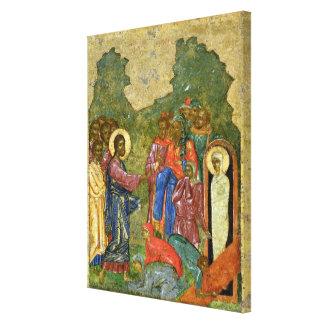 El aumento de Lazarus, icono ruso Lona Envuelta Para Galerias