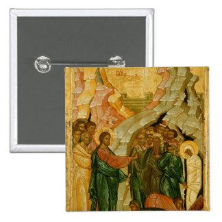 El aumento de Lazarus, icono ruso Pin Cuadrado