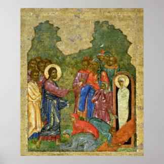 El aumento de Lazarus, icono ruso Póster
