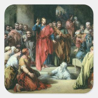 El aumento de Lazarus Pegatina Cuadrada