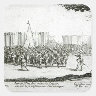 El aumento de un ejército pegatina cuadrada