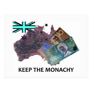 El australiano guarda el logotipo de la monarquía postales