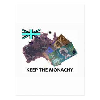 El australiano guarda el logotipo de la monarquía tarjeta postal