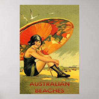 El australiano vara el vintage póster
