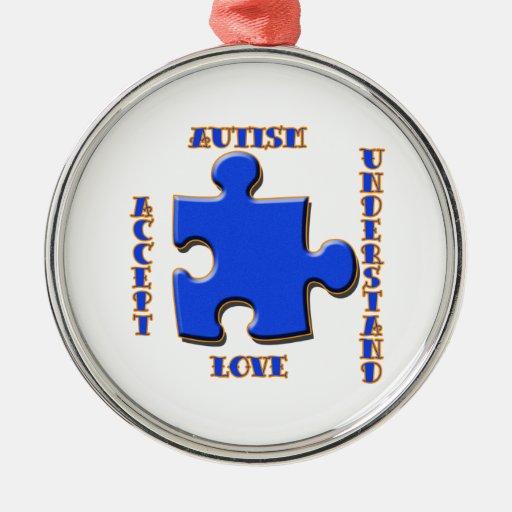 El autismo, aceptación, amor, entiende adorno navideño redondo de metal