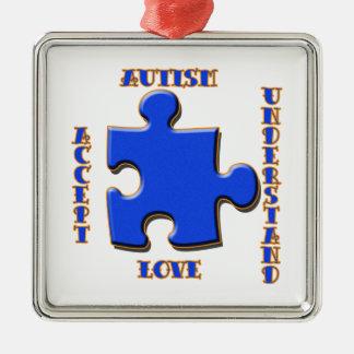El autismo, aceptación, amor, entiende adorno cuadrado plateado
