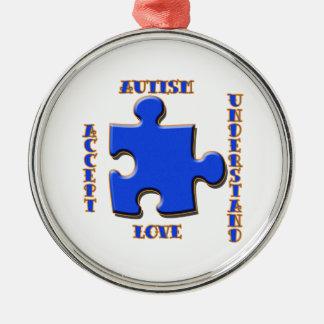 El autismo, aceptación, amor, entiende adorno redondo plateado