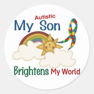 El autismo ACLARA a MI hijo del MUNDO 1 Etiquetas Redondas