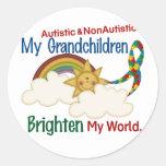 El autismo ACLARA a MIS nietos 2 del MUNDO 1 Etiquetas Redondas