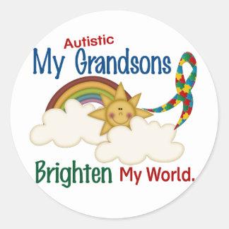 El autismo ACLARA a MIS nietos del MUNDO 1 Etiquetas Redondas