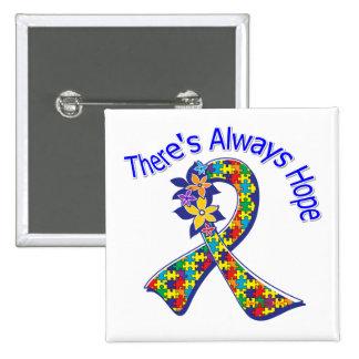 El autismo allí es siempre esperanza floral pin cuadrada 5 cm