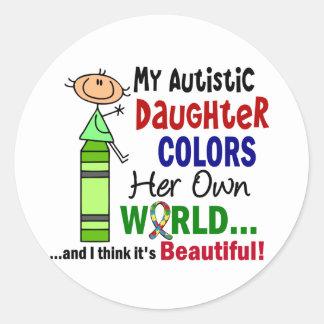 El autismo COLOREA a SU PROPIA hija del MUNDO Pegatina Redonda