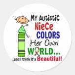 El autismo COLOREA a SU PROPIA sobrina del MUNDO Etiquetas Redondas