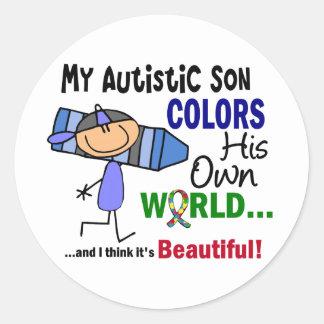 El autismo COLOREA a SU PROPIO hijo del MUNDO Pegatina Redonda
