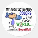 El autismo COLOREA a SU PROPIO sobrino del MUNDO Pegatina Redonda
