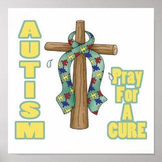 El autismo Conciencia-Ruega para una curación Póster