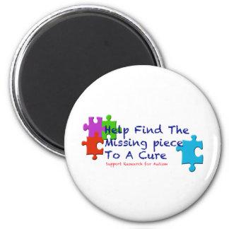 El autismo de la ayuda encuentra una curación imán redondo 5 cm