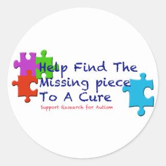 El autismo de la ayuda encuentra una curación pegatina redonda