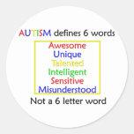 El autismo define pegatina redonda