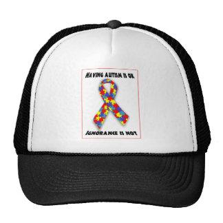 El autismo es aceptable, ignorancia no gorras de camionero