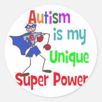 El autismo es mi superpoder único pegatina redonda