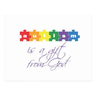 El autismo es un regalo de dios tarjeta postal