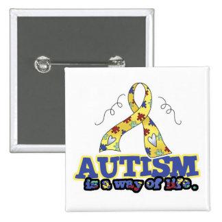 El autismo es una manera de vida pin cuadrada 5 cm