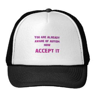 El autismo lo acepta rosado/púrpura gorras de camionero