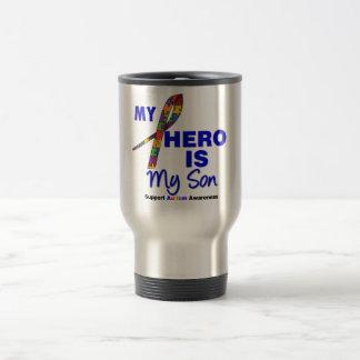El autismo mi héroe es mi hijo taza de viaje de acero inoxidable