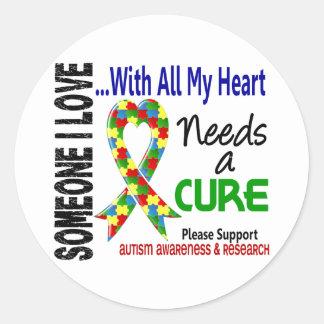 El autismo necesita una curación 3 pegatina redonda