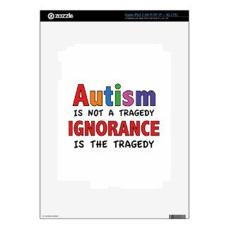 El autismo no es una tragedia, ignorancia es la pegatina skin para iPad 3
