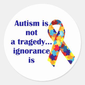 El autismo no es una tragedia, ignorancia es pegatina redonda