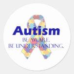 El autismo sea consciente esté entendiendo pegatinas redondas