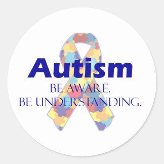 El autismo sea consciente esté entendiendo pegatinas