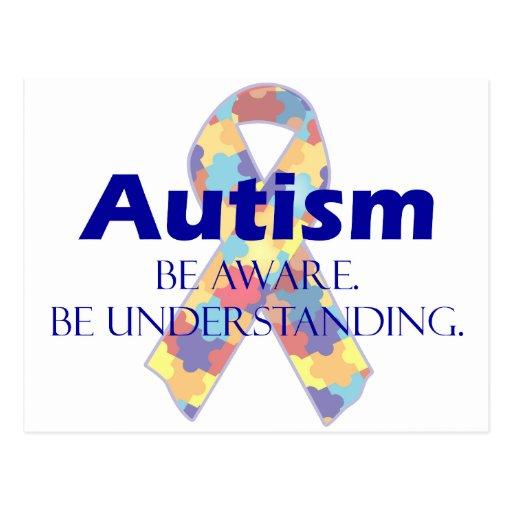 El autismo sea consciente esté entendiendo tarjeta postal