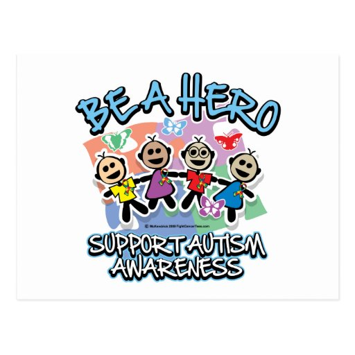 El autismo sea un héroe tarjeta postal