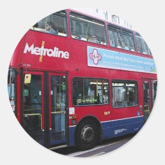 El autobús de dos pisos de Londres Pegatina Redonda