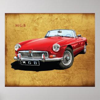 El automóvil descubierto clásico de MG MGB Póster