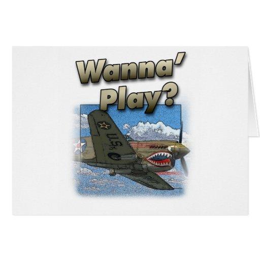 ¿El avión P-40 - quiera jugar? Tarjeta De Felicitación