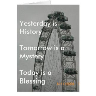 El ayer es historia tarjeta de felicitación