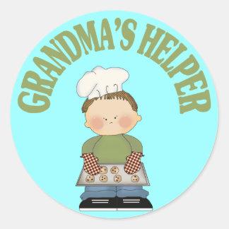El ayudante de la abuela pegatina redonda