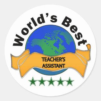 El ayudante del mejor profesor del mundo pegatina redonda