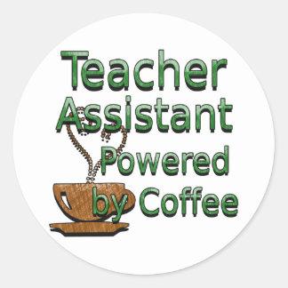 El ayudante del profesor accionado por el café etiquetas redondas