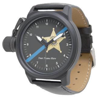 El ayudante del sheriff Blue Line fino mira Reloj De Mano