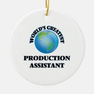 El ayudante más grande de la producción del mundo adorno navideño redondo de cerámica