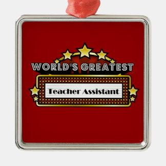 El ayudante más grande del profesor del mundo adorno navideño cuadrado de metal
