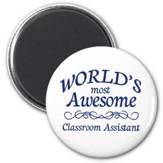 El ayudante más impresionante de la sala de clase  imán redondo 5 cm
