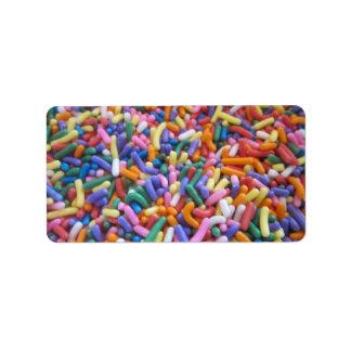 El azúcar asperja etiquetas de dirección
